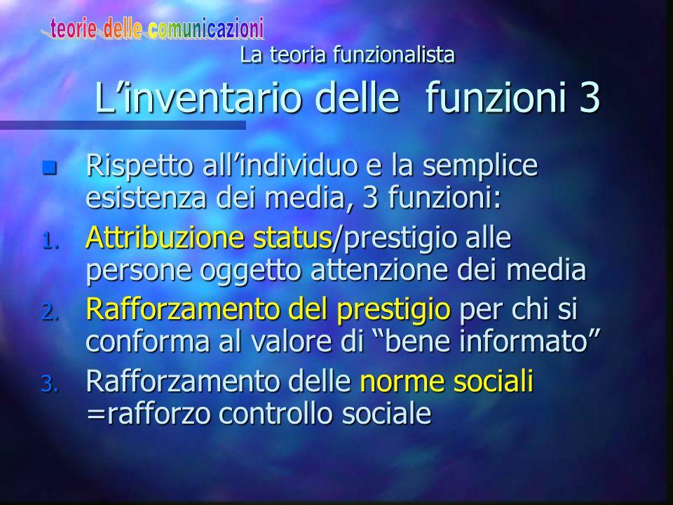 La teoria funzionalista L'inventario delle funzioni 3