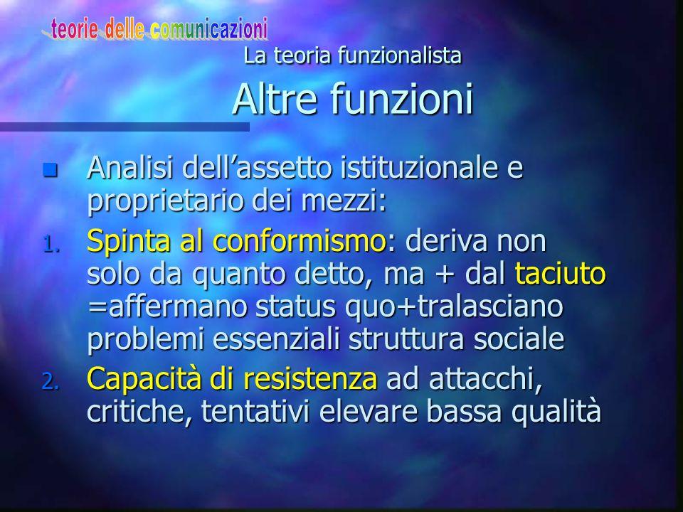 La teoria funzionalista Altre funzioni