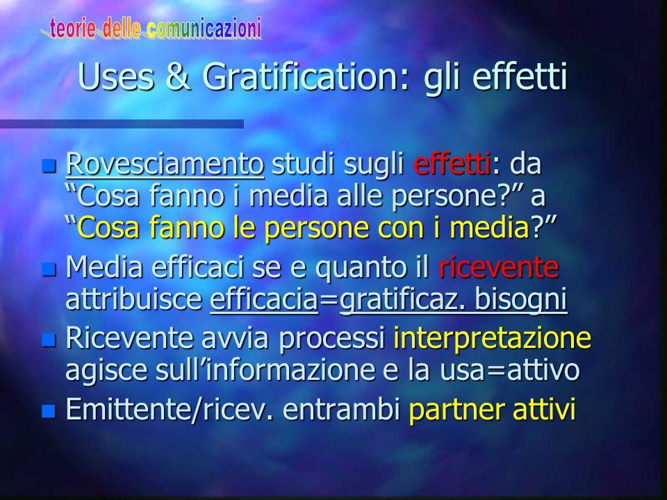 Uses & Gratification: gli effetti