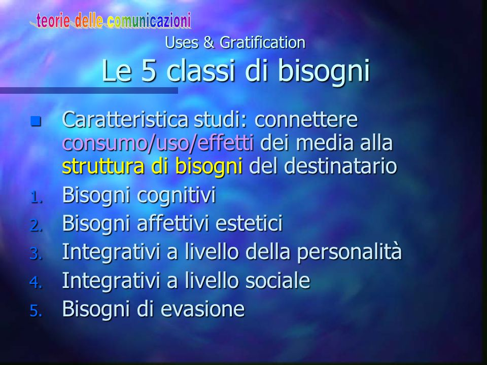 Uses & Gratification Le 5 classi di bisogni