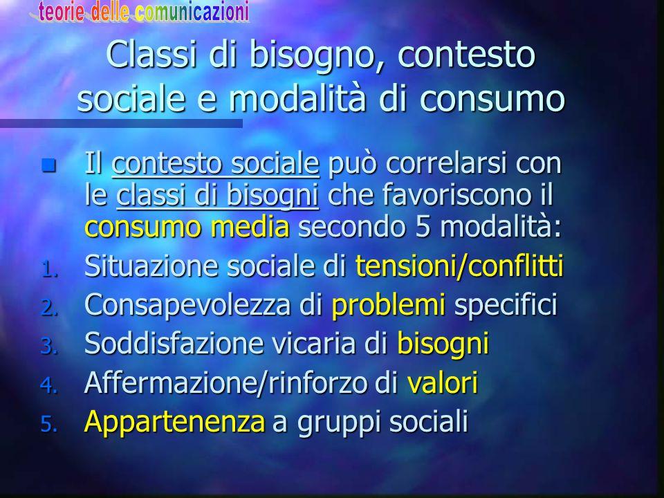 Classi di bisogno, contesto sociale e modalità di consumo