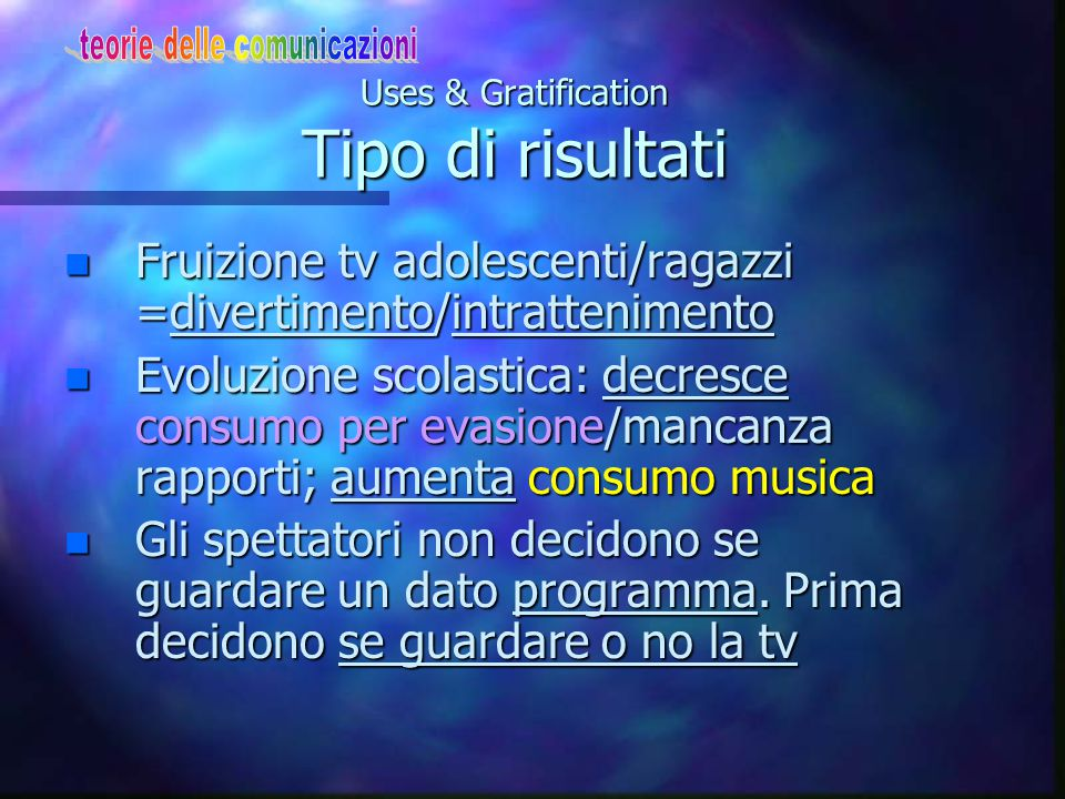 Uses & Gratification Tipo di risultati