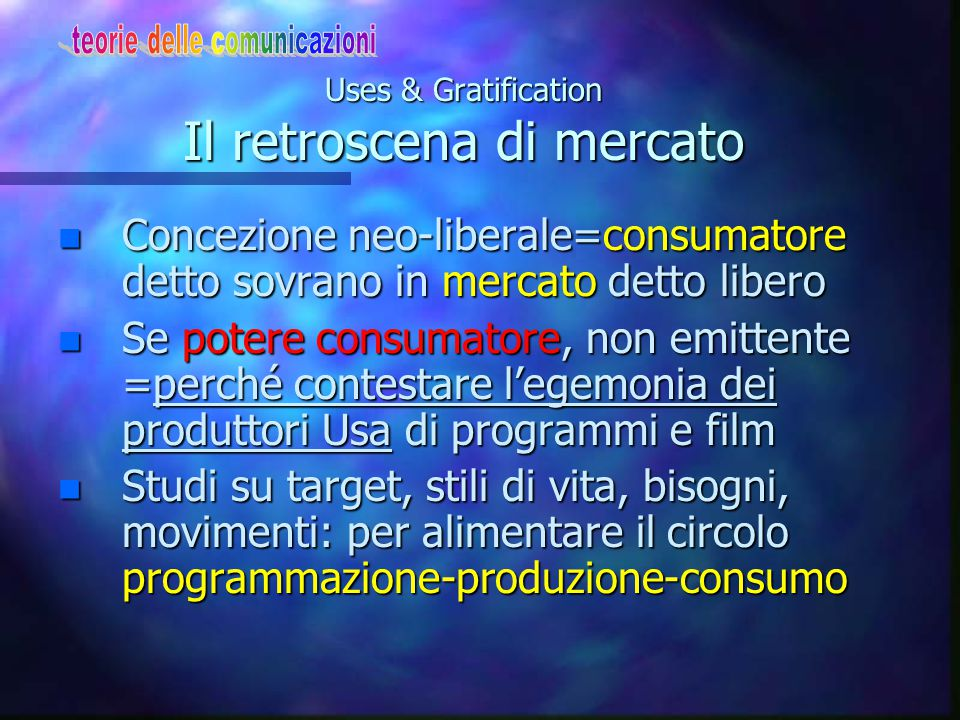 Uses & Gratification Il retroscena di mercato