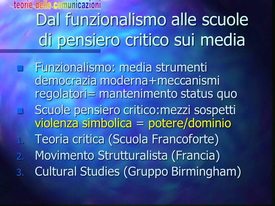 Dal funzionalismo alle scuole di pensiero critico sui media