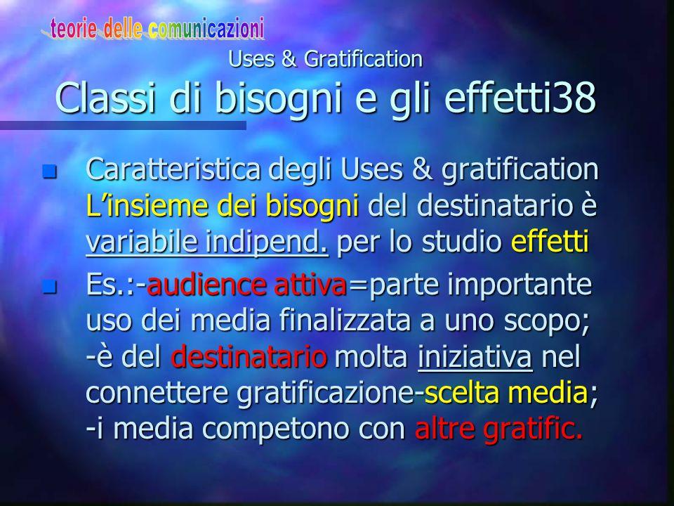 Uses & Gratification Classi di bisogni e gli effetti38
