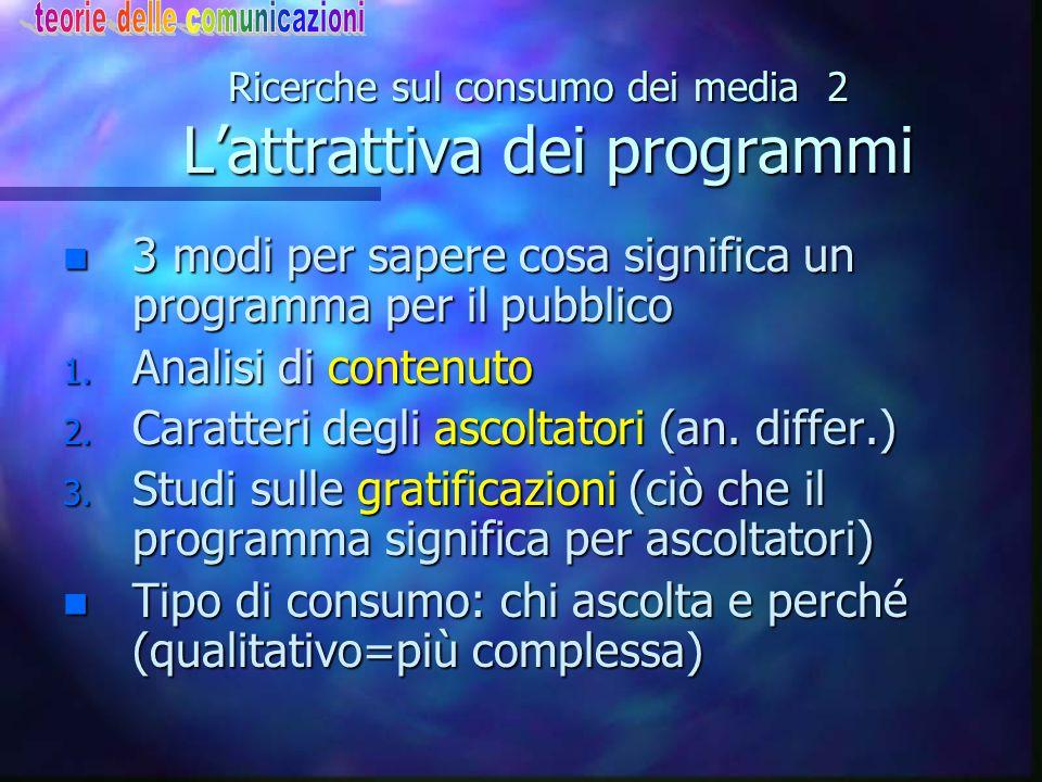Ricerche sul consumo dei media 2 L'attrattiva dei programmi