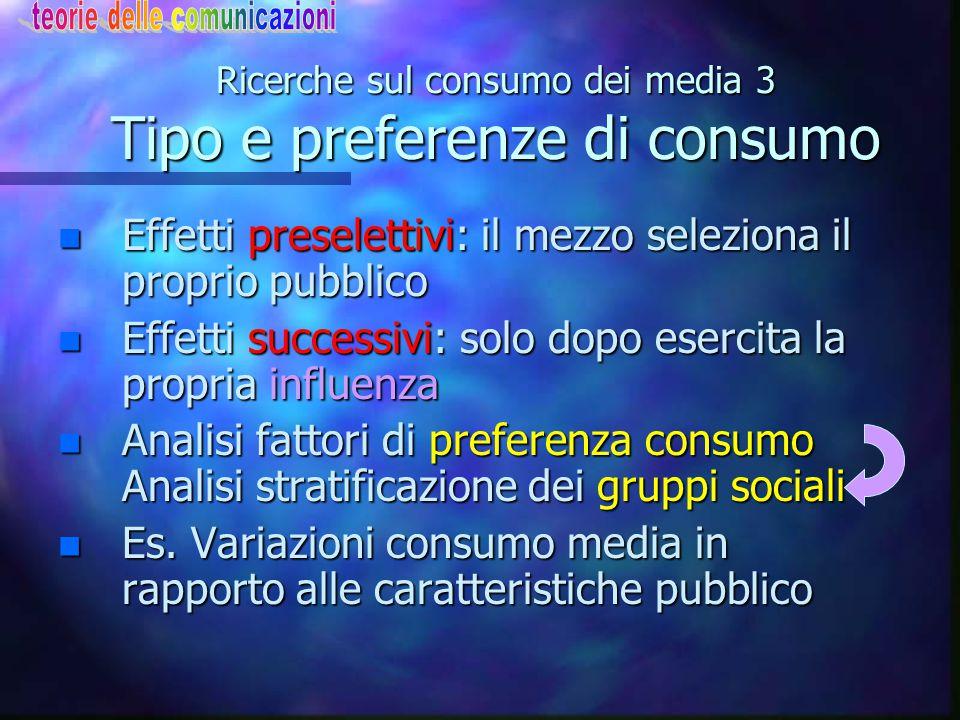 Ricerche sul consumo dei media 3 Tipo e preferenze di consumo
