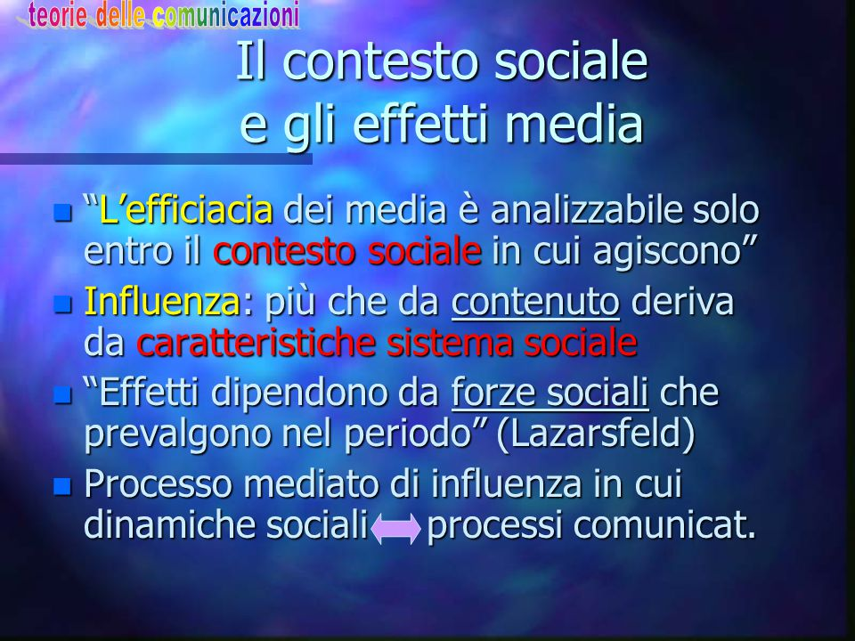 Il contesto sociale e gli effetti media