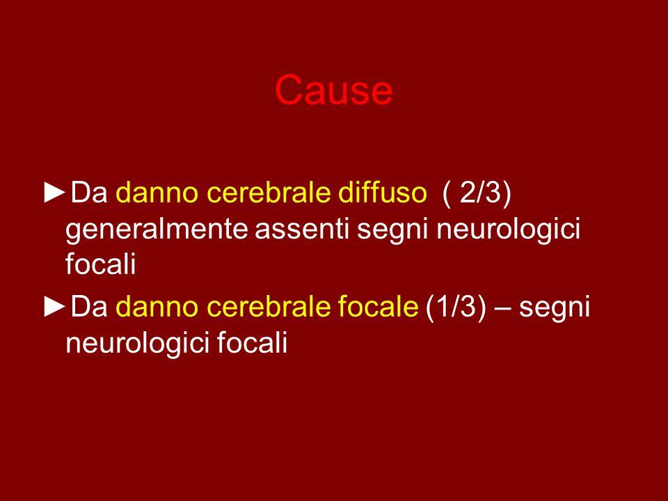 Cause ►Da danno cerebrale diffuso ( 2/3) generalmente assenti segni neurologici focali.