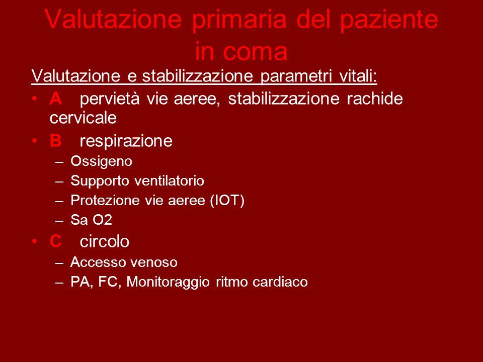 Valutazione primaria del paziente in coma