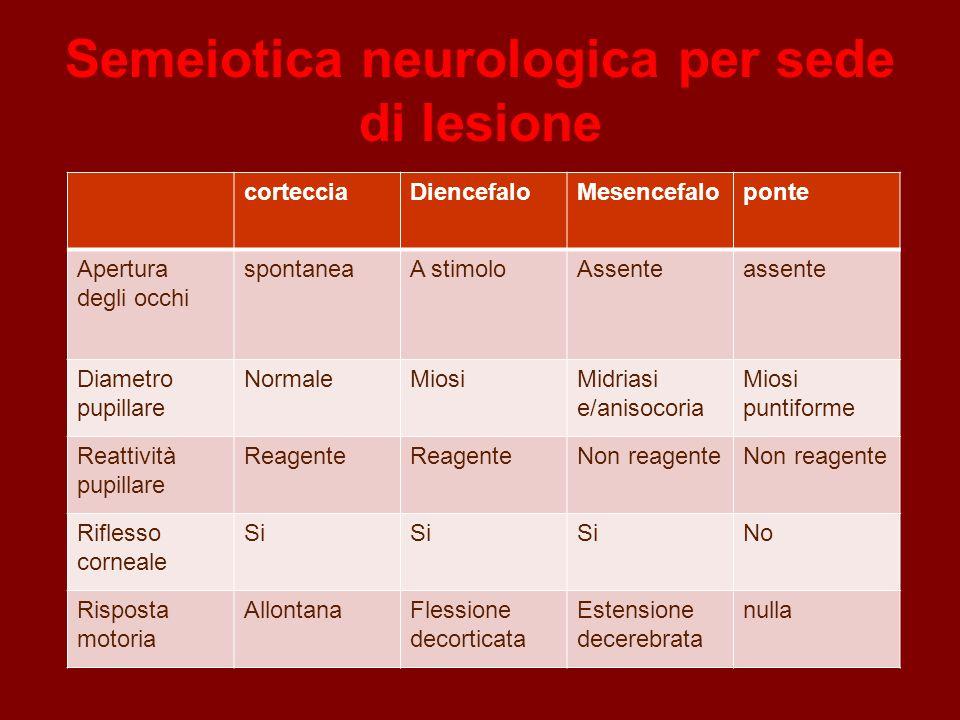 Semeiotica neurologica per sede di lesione