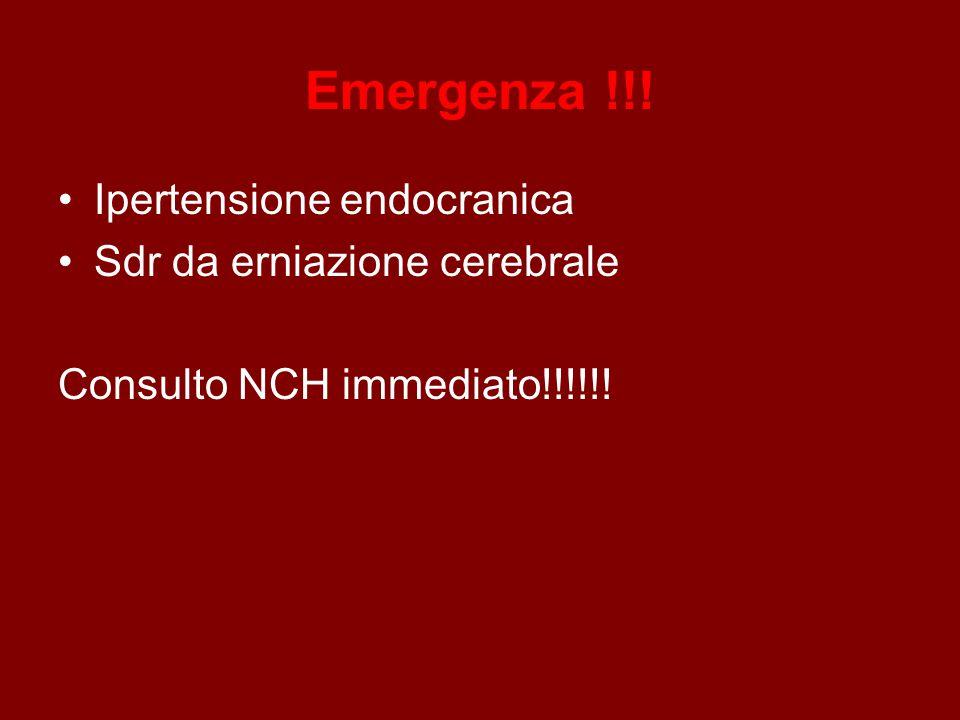 Emergenza !!! Ipertensione endocranica Sdr da erniazione cerebrale
