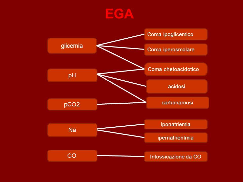 EGA glicemia pH pCO2 Na CO Coma ipoglicemico Coma iperosmolare