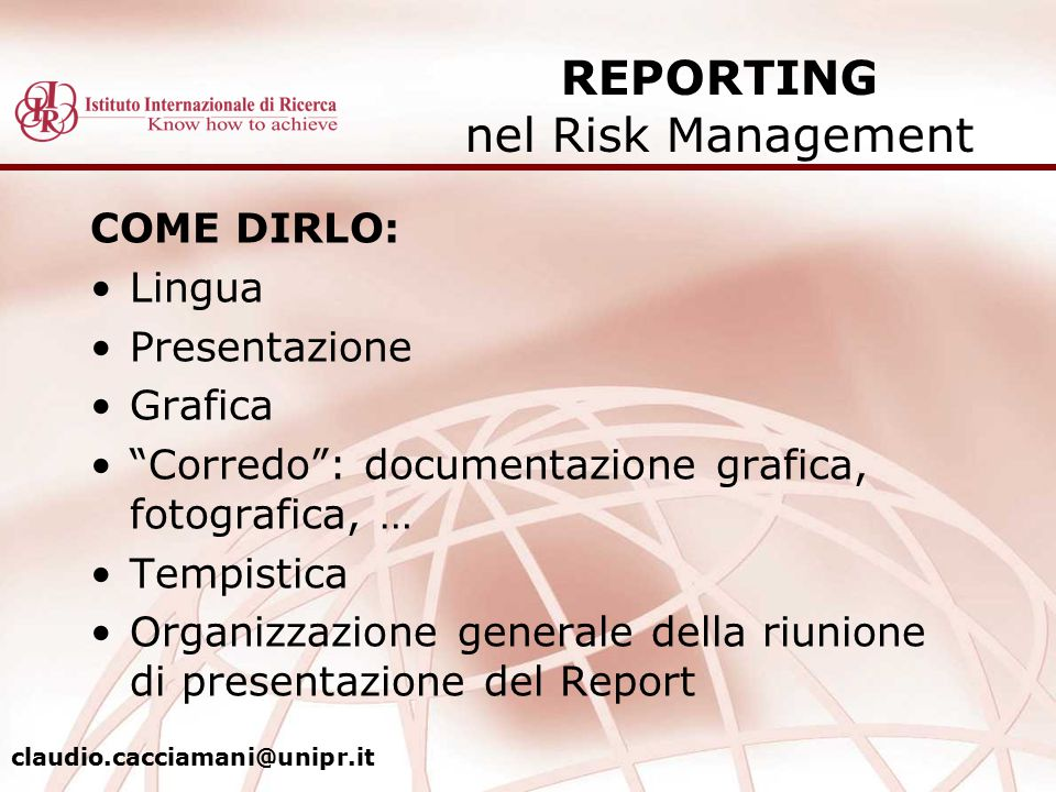 REPORTING nel Risk Management
