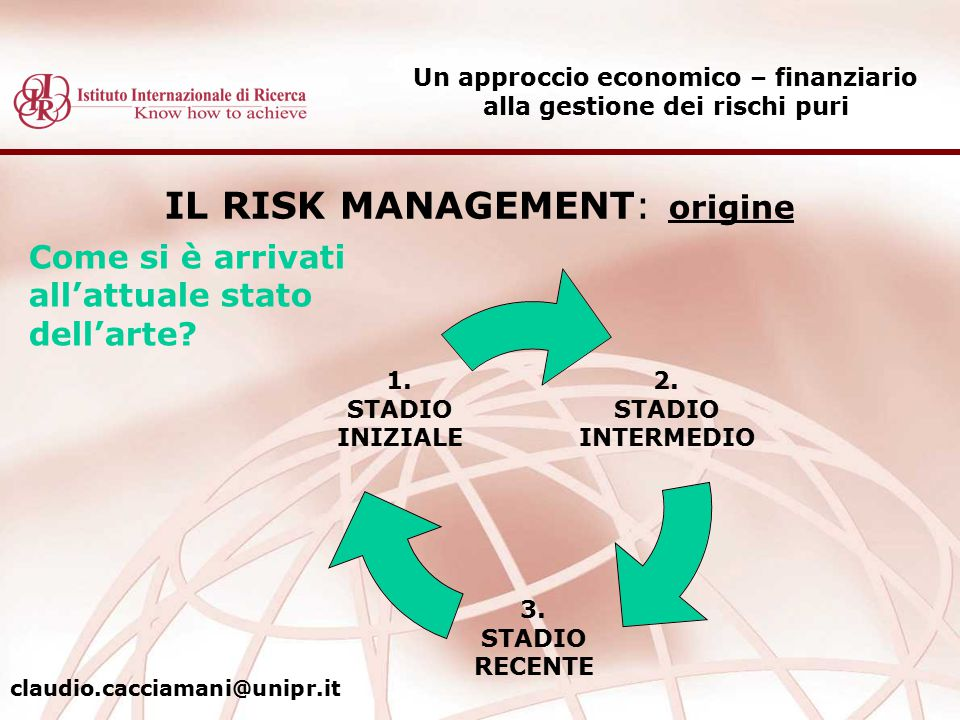 IL RISK MANAGEMENT: origine