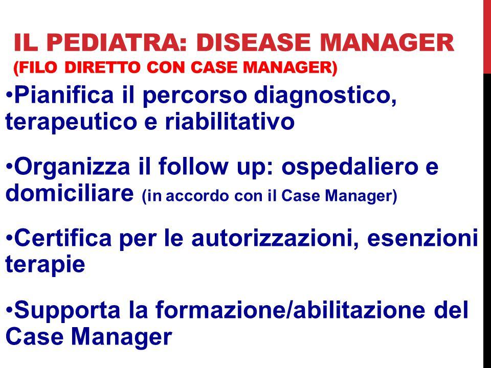 Il pediatra: Disease Manager (Filo diretto con case manager)
