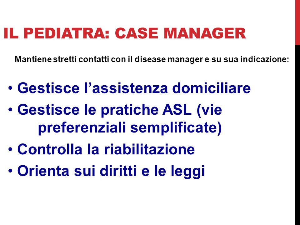 Il pediatra: case manager