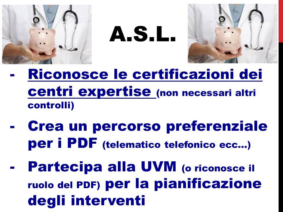 A.S.L. Riconosce le certificazioni dei centri expertise (non necessari altri controlli)