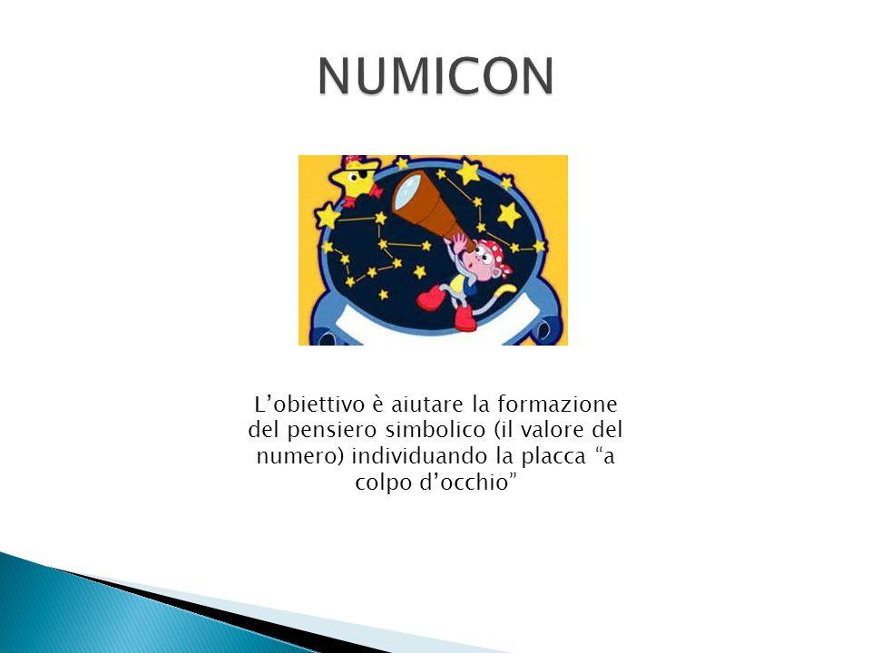 NUMICON L'obiettivo è aiutare la formazione del pensiero simbolico (il valore del numero) individuando la placca a colpo d'occhio