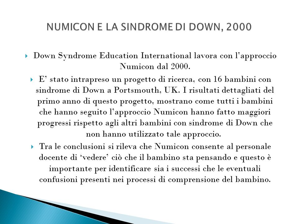 NUMICON E LA SINDROME DI DOWN, 2000