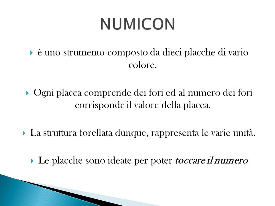 NUMICON è uno strumento composto da dieci placche di vario colore.
