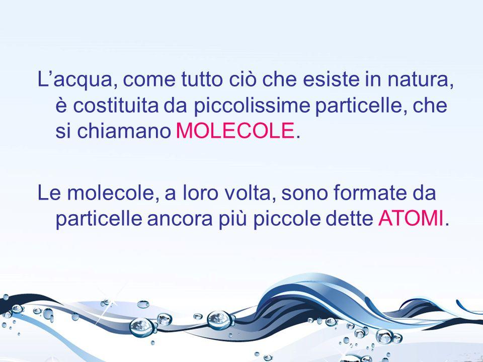 L'acqua, come tutto ciò che esiste in natura, è costituita da piccolissime particelle, che si chiamano MOLECOLE.