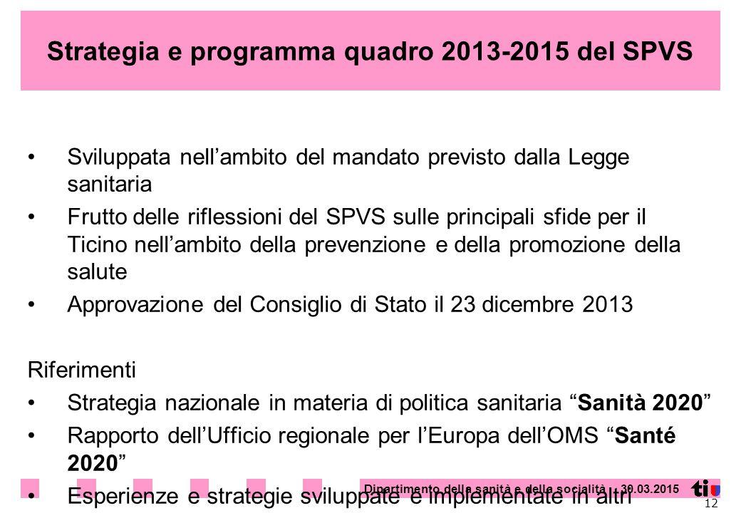 Strategia e programma quadro 2013-2015 del SPVS