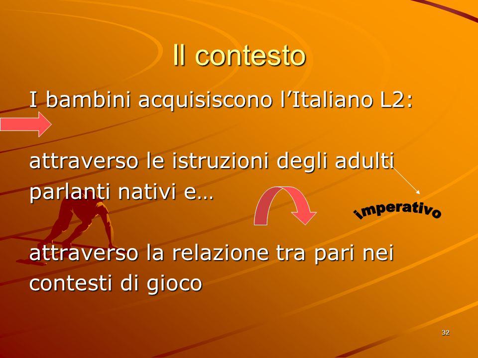 Il contesto I bambini acquisiscono l'Italiano L2: