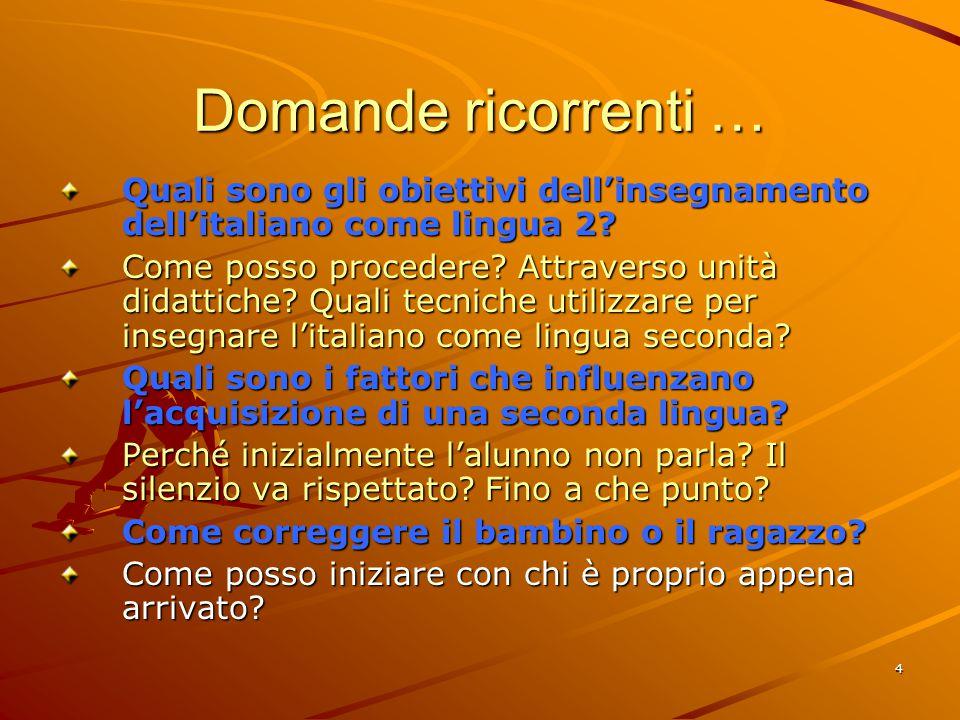 Domande ricorrenti … Quali sono gli obiettivi dell'insegnamento dell'italiano come lingua 2