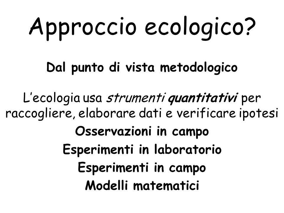 Dal punto di vista metodologico Esperimenti in laboratorio