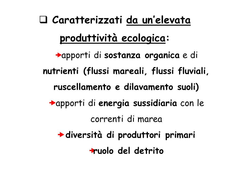 Caratterizzati da un'elevata produttività ecologica: