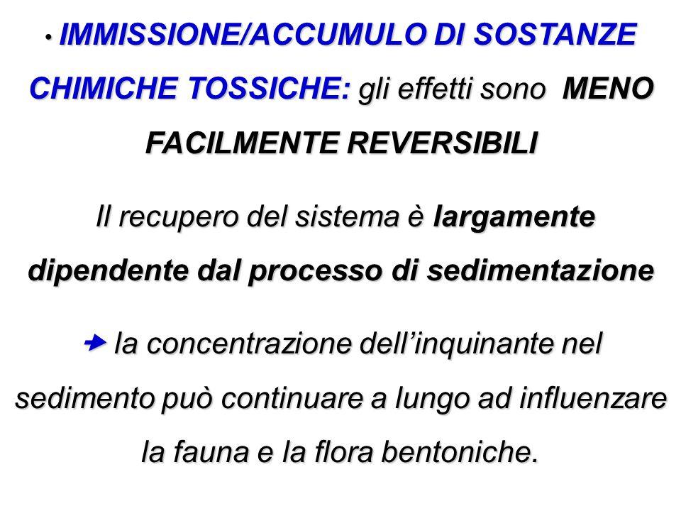 IMMISSIONE/ACCUMULO DI SOSTANZE CHIMICHE TOSSICHE: gli effetti sono MENO FACILMENTE REVERSIBILI