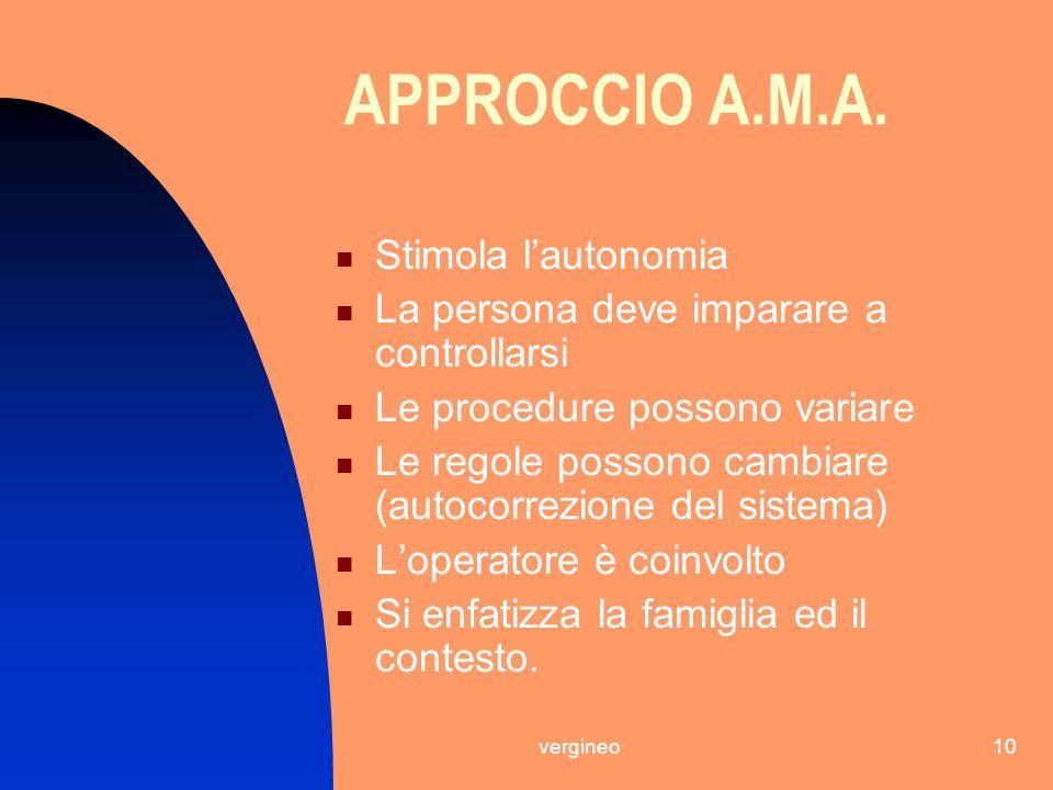 APPROCCIO A.M.A. Stimola l'autonomia