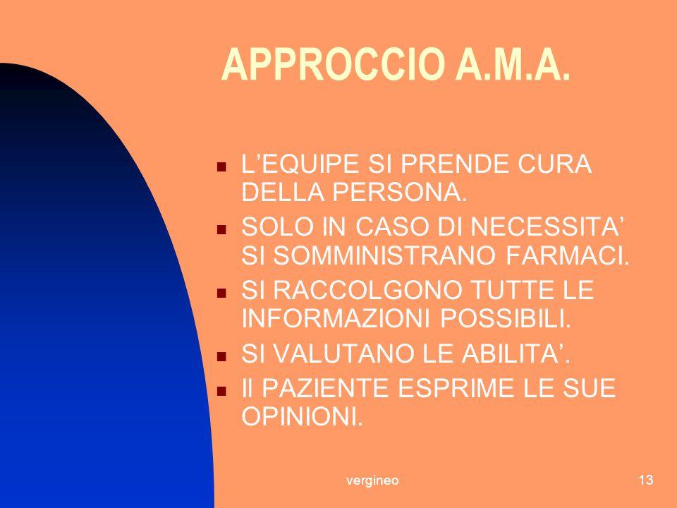 APPROCCIO A.M.A. L'EQUIPE SI PRENDE CURA DELLA PERSONA.