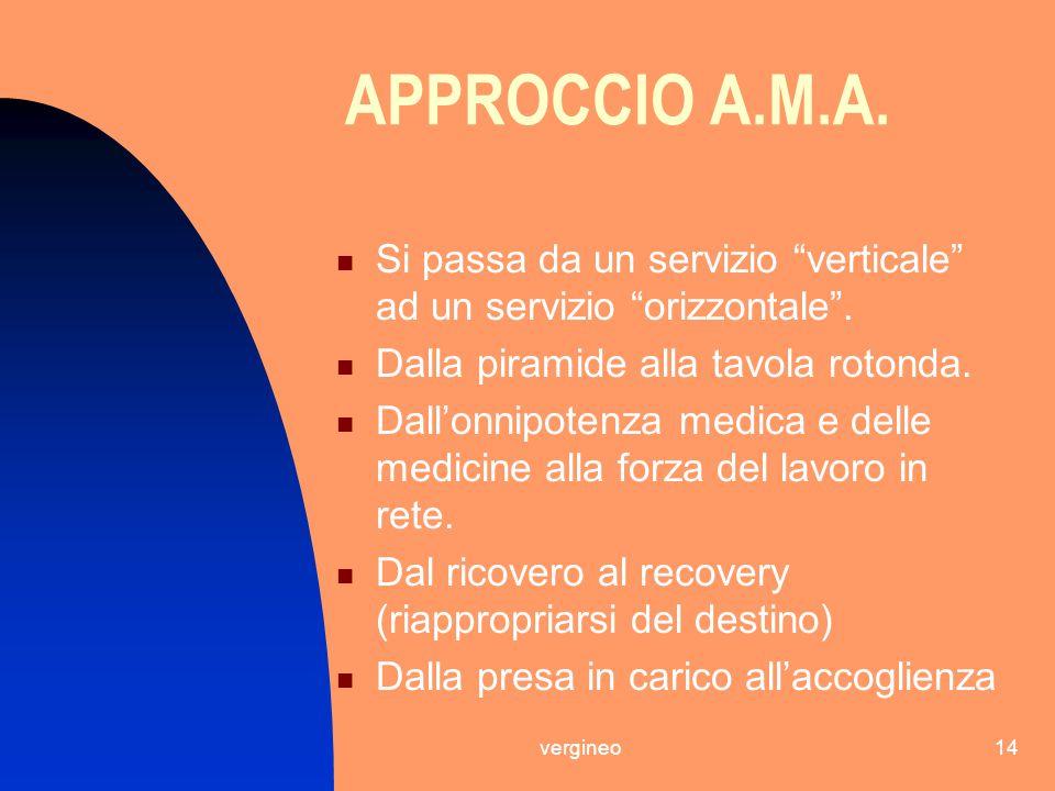 APPROCCIO A.M.A. Si passa da un servizio verticale ad un servizio orizzontale . Dalla piramide alla tavola rotonda.