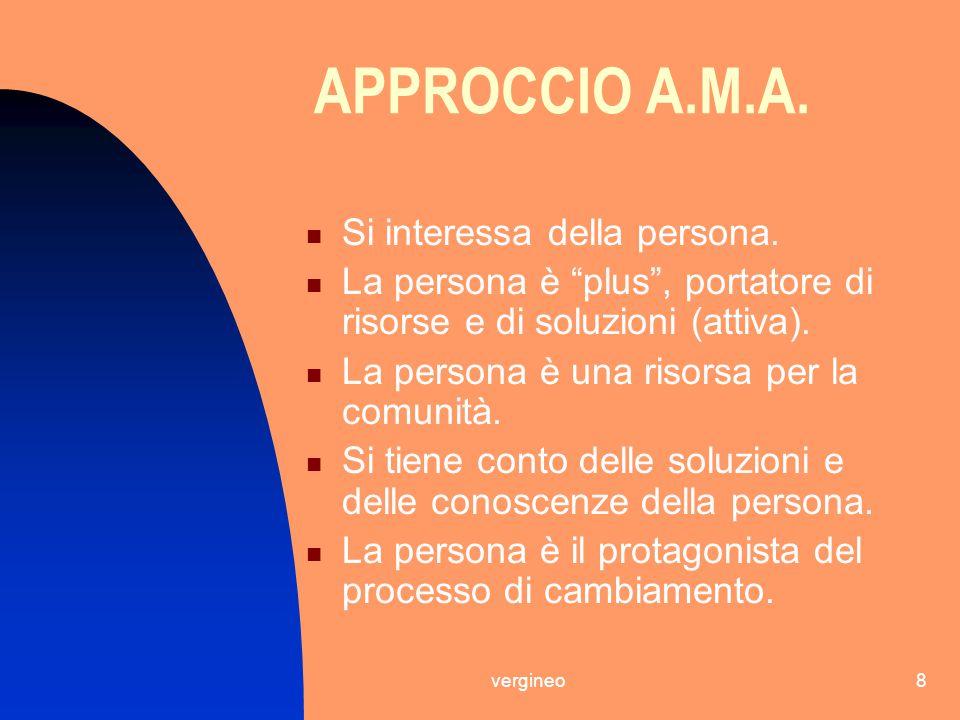 APPROCCIO A.M.A. Si interessa della persona.