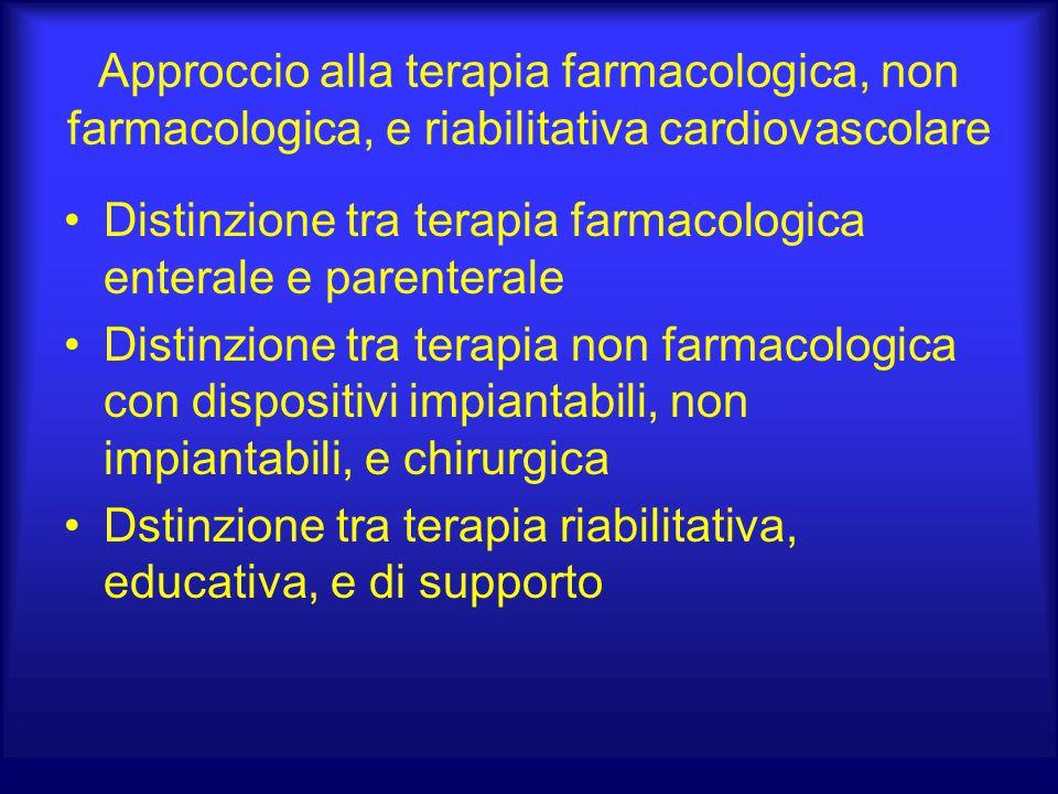 Approccio alla terapia farmacologica, non farmacologica, e riabilitativa cardiovascolare