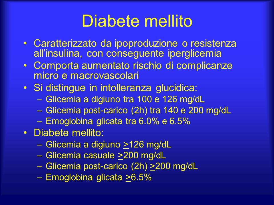Diabete mellito Caratterizzato da ipoproduzione o resistenza all'insulina, con conseguente iperglicemia.