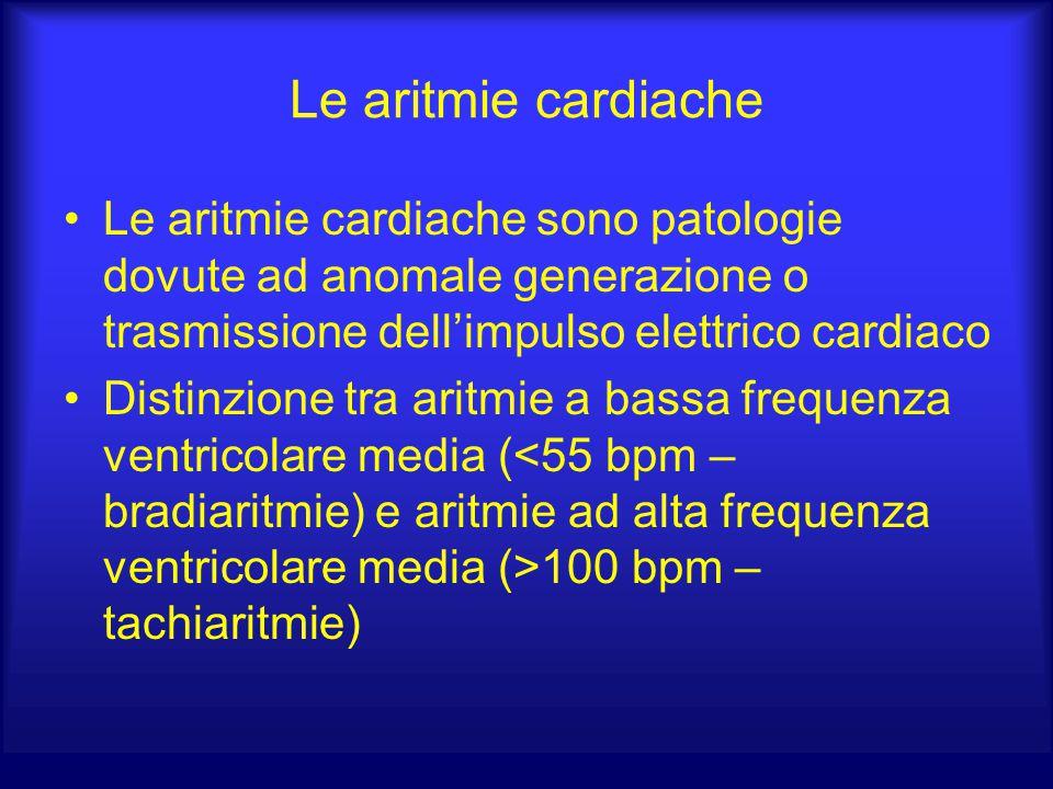 Le aritmie cardiache Le aritmie cardiache sono patologie dovute ad anomale generazione o trasmissione dell'impulso elettrico cardiaco.