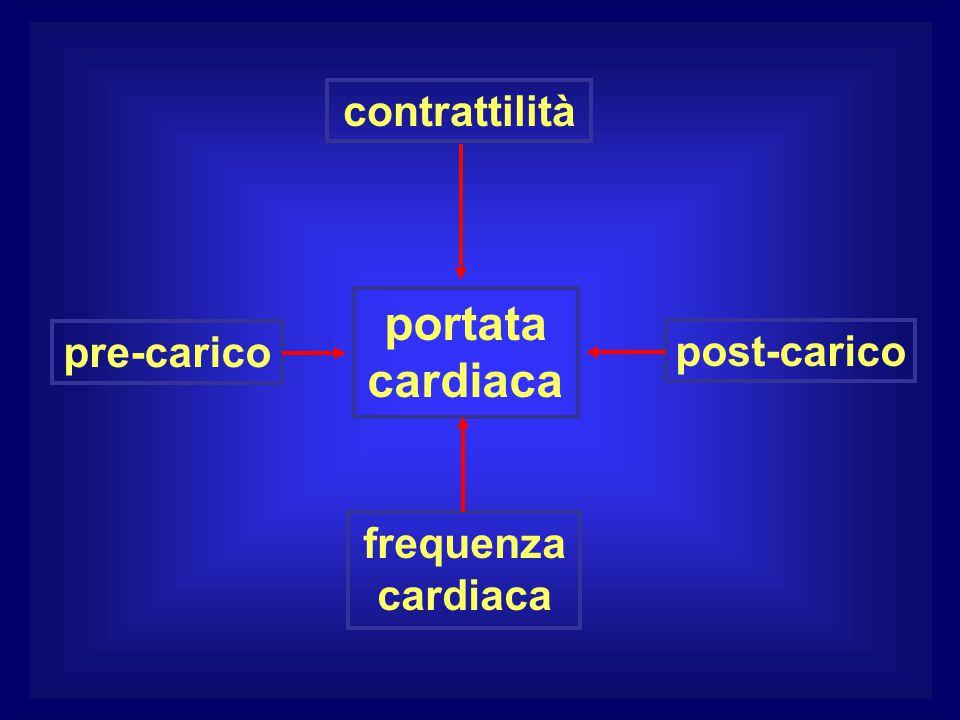 portata cardiaca contrattilità pre-carico post-carico