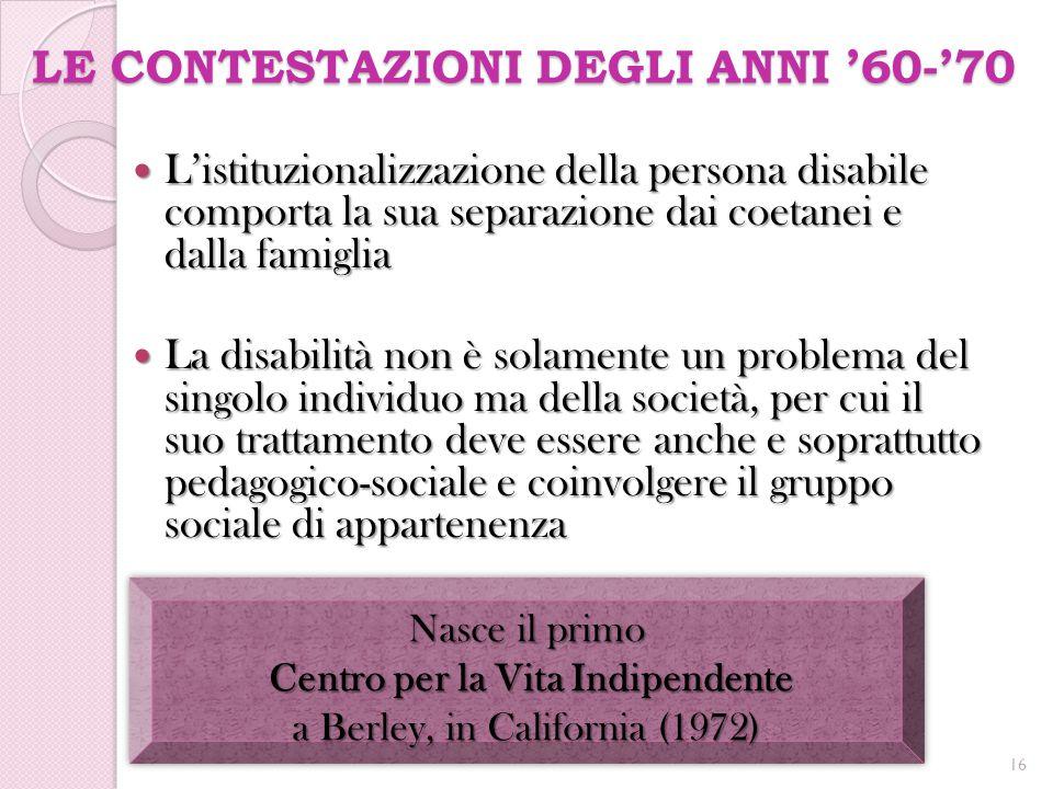 LE CONTESTAZIONI DEGLI ANNI '60-'70