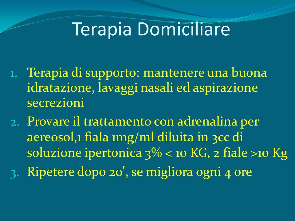 Terapia Domiciliare Terapia di supporto: mantenere una buona idratazione, lavaggi nasali ed aspirazione secrezioni.