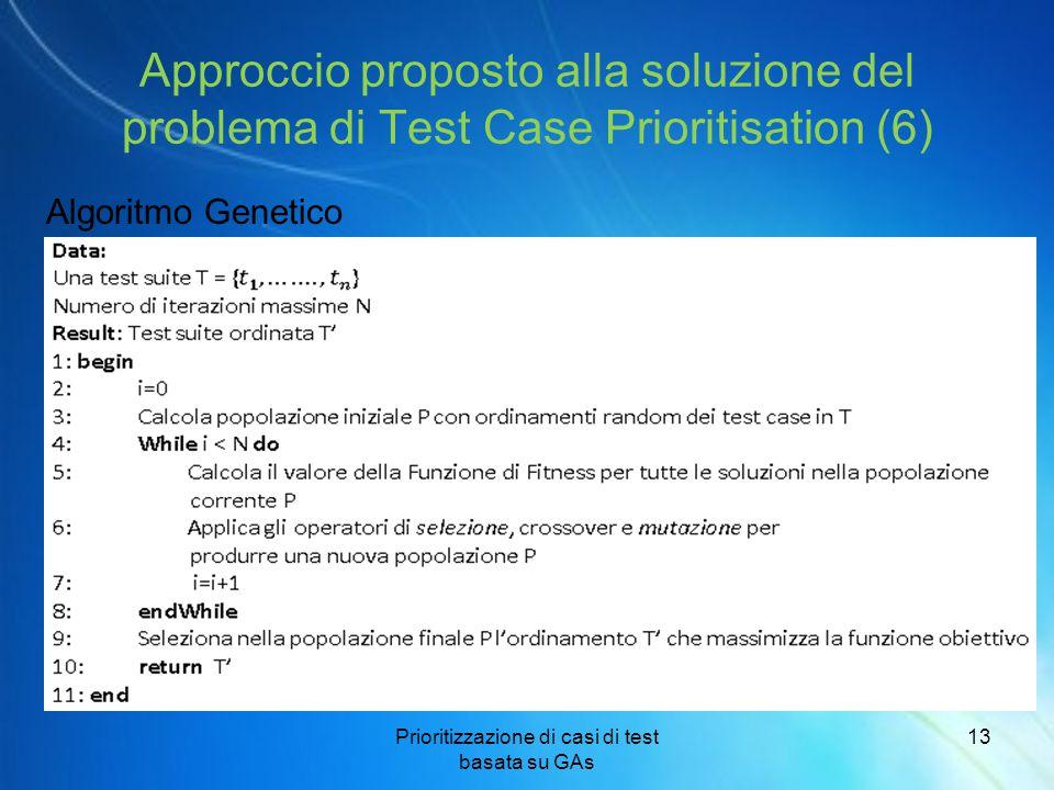 Prioritizzazione di casi di test basata su GAs