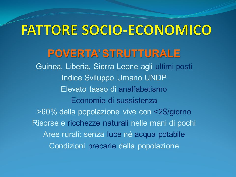 FATTORE SOCIO-ECONOMICO
