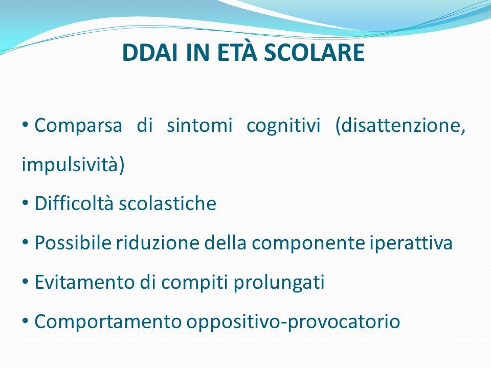 DDAI IN ETÀ SCOLARE Comparsa di sintomi cognitivi (disattenzione, impulsività) Difficoltà scolastiche.