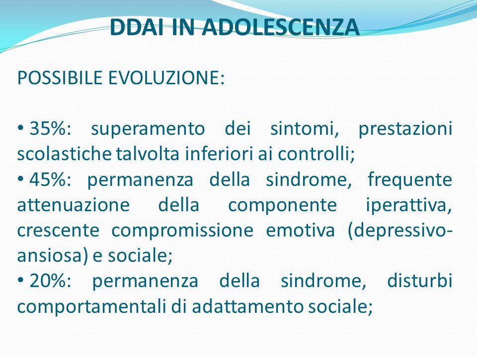 DDAI IN ADOLESCENZA POSSIBILE EVOLUZIONE: