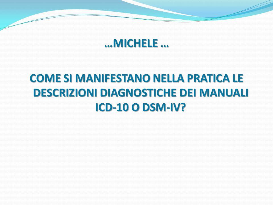 …MICHELE … COME SI MANIFESTANO NELLA PRATICA LE DESCRIZIONI DIAGNOSTICHE DEI MANUALI ICD-10 O DSM-IV