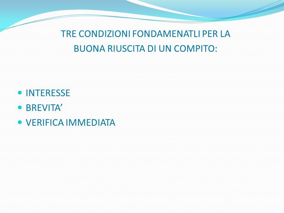 TRE CONDIZIONI FONDAMENATLI PER LA BUONA RIUSCITA DI UN COMPITO: