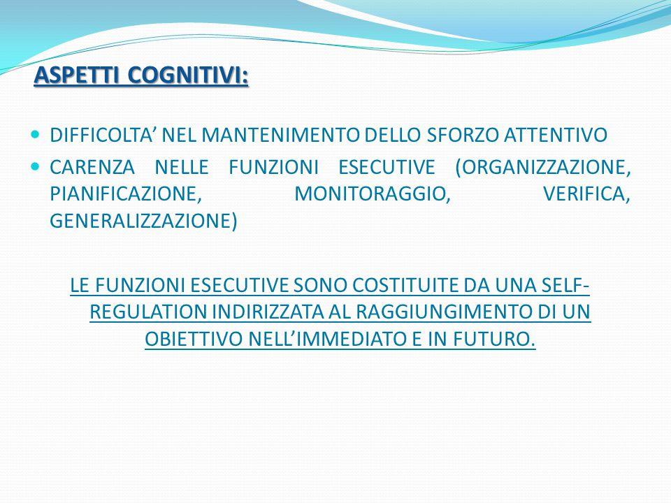 ASPETTI COGNITIVI: DIFFICOLTA' NEL MANTENIMENTO DELLO SFORZO ATTENTIVO