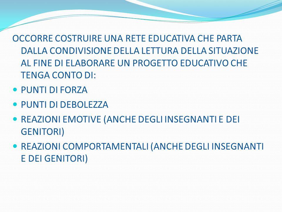 OCCORRE COSTRUIRE UNA RETE EDUCATIVA CHE PARTA DALLA CONDIVISIONE DELLA LETTURA DELLA SITUAZIONE AL FINE DI ELABORARE UN PROGETTO EDUCATIVO CHE TENGA CONTO DI: